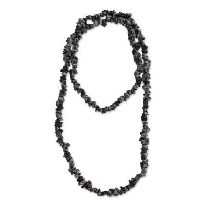 Obsidian Beaded Necklace Crafted in Brazil