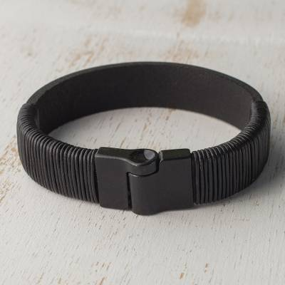 Mens leather wristband bracelet, Masculine Solidarity