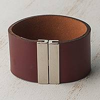 Leather wristband bracelet, 'Mahogany Samba' - Leather Wristband Bracelet in Mahogany from Brazil