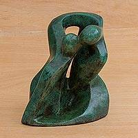 Bronze sculpture, 'The Kiss' - Romantic Bronze Sculpture in Green from Brazil