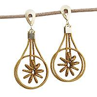 Gold plated golden grass dangle earrings, 'Spring Gleam' - 18k Gold Plated Golden Grass Dangle Earrings from Brazil