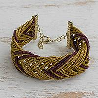 Gold plated golden grass wristband bracelet, 'Gold and Burgundy' - Gold Plated Golden Grass Wristband Bracelet in Burgundy