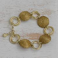 Gold plated golden grass link bracelet, 'Golden Rings' - 18k Gold Plated Golden Grass Link Bracelet from Brazil