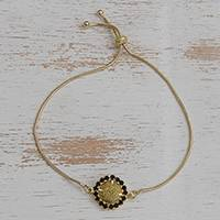 Gold plated golden grass pendant bracelet, 'Golden Delicacy in Black' - Gold Plated Golden Grass Pendant Bracelet with Glass Beads