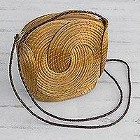 Golden grass sling, 'Golden Links' - Handmade Golden Grass Sling Handbag from Brazil