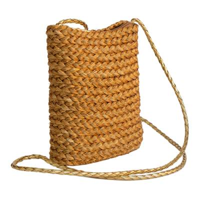 Braided Golden Grass Sling Bag Handcrafted in Brazil