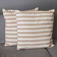 Cotton cushion covers, 'Country Stripes' (pair) - Striped Cotton Cushion Covers from Brazil (Pair)
