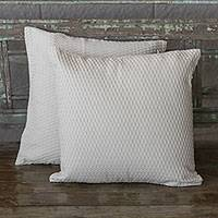 Cotton cushion covers, 'Ivory Texture' (pair) - Handwoven Cotton Cushion Covers in Ivory from Brazil (Pair)