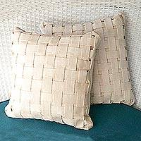 Cotton cushion covers, 'Homestead Weave' (pair) - Ivory-Colored Cotton Cushion Covers from Brazil (Pair)