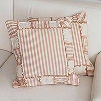 Cotton cushion cover, 'Sweet Patchwork' - Patchwork Striped Cotton Cushion Cover from Brazil