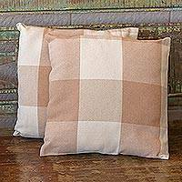Cotton cushion covers, 'Striped Patchwork' (pair) - Handwoven Patchwork Cotton Cushion Covers from Brazil (Pair)