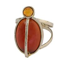 Agate and citrine cocktail ring, 'Twilight Hues' - Agate and Citrine Cocktail Ring from Brazil