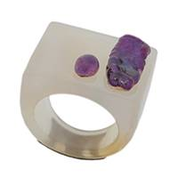Agate cocktail ring, 'Purple Archipelago' - Agate Amethyst and Pearl Cocktail Ring from Brazil