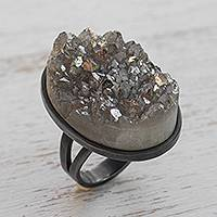 Rhodium plated drusy agate cocktail ring, 'Modern Mountains' - Modern Drusy Agate Cocktail Ring from Brazil