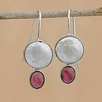 Cultured pearl and garnet drop earrings, 'Oval Glow' - Cultured Pearl and Garnet Drop Earrings from Brazil