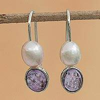 Amethyst and cultured pearl drop earrings, 'Magnificent Sparkle' - Amethyst and Cultured Pearl Drop Earrings from Brazil