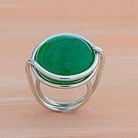 Jade cocktail ring, 'Verdant Mother' - Natural Green Jade Cocktail Ring from Brazil