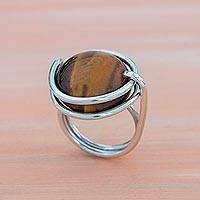 Tiger's eye cocktail ring, 'Earthen Mother' - Natural Tiger's Eye Cocktail Ring from Brazil