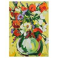 'Colored in the Vase' - Signed Floral Impressionist Painting in Multicolor