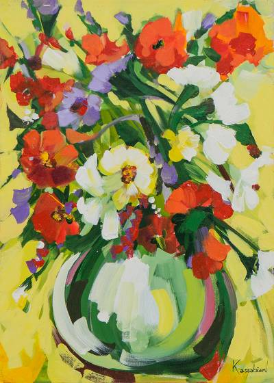 'Colorful Flowers in the Vase' - Signed Floral Impressionist Painting in Multicolor