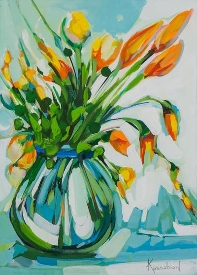 Vase of Flowers  sc 1 st  Novica & Signed Floral Still Life Painting in Green from Brazil - Vase of ...