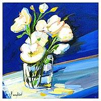 'White Flowers' - Signed Floral Still Life Painting in Blue from Brazil