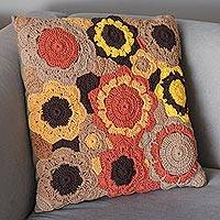 Cotton cushion cover, 'Flowers of the Earth' - Earth-Tone Floral Motif Cotton Cushion Cover from Brazil