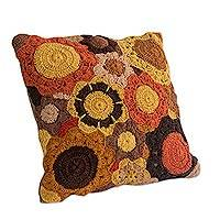Cotton cushion cover, 'Floral Cornucopia' - Hand Crocheted Warm Colors Floral Motif Cotton Cushion Cover