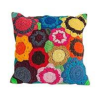 Cotton cushion cover, 'Kaleidoscope of Blooms' - Hand Crocheted Multi-Color Floral Motif Cotton Cushion Cover