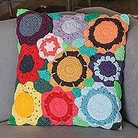 Cotton cushion cover, 'Flowers of the World' - Multicolored Floral Motif Cotton Cushion Cover from Brazil