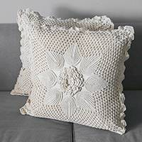 Cotton cushion covers, 'Vanilla Petals' (pair) - Floral Cotton Cushion Covers in Vanilla from Brazil (Pair)