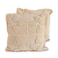 Cotton cushion covers, 'Dream Fields' (pair) - Hand Crocheted Ivory Floral Cotton Cushion Covers (Pair)