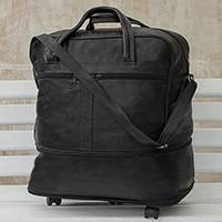 Expandable leather wheeled travel bag, 'Style Traveler in Black' - Expandable Leather Wheeled Travel Bag in Black from Brazil
