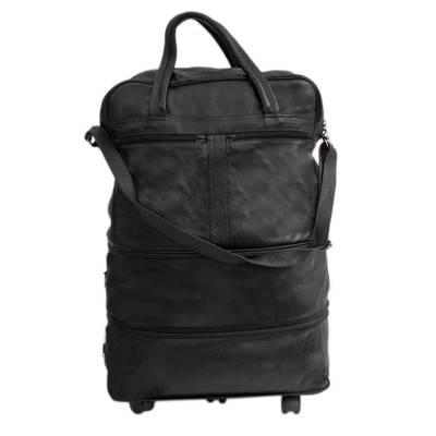 Expandable Leather Wheeled Travel Bag in Black from Brazil