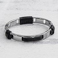 Leather and stainless steel bangle bracelet, 'Dark Space' - Leather and Stainless Steel Bangle Bracelet from Brazil