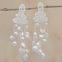 Cultured pearl chandelier earrings, 'Glowing Cascade' - Modern Cultured Pearl Chandelier Earrings from Brazil