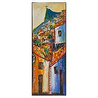 'The Colors of the Community' - Colorful Impressionist Painting of a Brazilian Favela