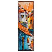 'Community at Sunrise' - Colorful Signed Painting of a Favela from Brazil