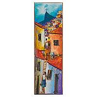 'Community at Dusk' - Colorful Impressionist Painting of a Favela from Brazil