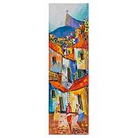 'Happy Day' - Impressionist Painting of a Brazilian Favela in Multicolor