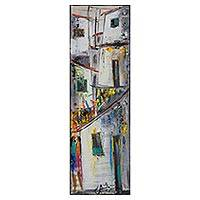 'The Community' - Signed Painting of a Grey Brazilian Favela