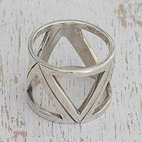 Sterling silver band ring, 'Stellar Triangles' - Triangle Motif Sterling Silver Band Ring from Brazil