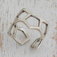 Sterling silver wrap ring, 'Pentagon Arrangement' - Pentagon Motif Sterling Silver Wrap Ring from Brazil