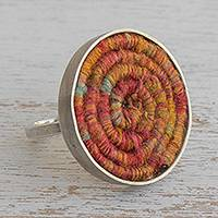 Silver and silk cocktail ring, 'Modern Serpent in Orange' - Silver and Silk Cocktail Ring in Orange from Brazil