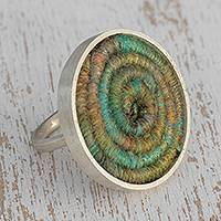 Silver and silk cocktail ring, 'Modern Serpent in Green' - Silver and Silk Cocktail Ring in Green from Brazil