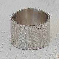 Silver band ring, 'Fantastic Lace' - Combination Finish Silver Band Ring from Brazil