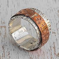 Silver and copper band ring, 'Gleaming Embrace' - Silver and Copper Band Ring from Brazil