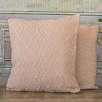 Cotton cushion covers, 'Beige Elegance' (pair) - Diamond Motif Cotton Cushion Covers in Beige (Pair)
