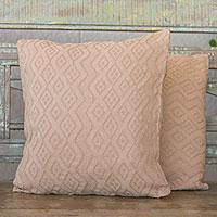 Cotton cushion covers, 'Beige Elegance' (pair) - Diamond Motif Cotton Cushion Covers in Beige (Pair)