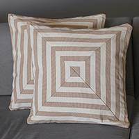 Cotton cushion covers, 'Mesmerizing Square' (pair) - Square Motif Cotton Cushion Covers from Brazil (Pair)